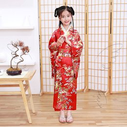 Wholesale Lovely Girls Japanese National Style Kimono Yukata with Obi Dance Dress Gown Vintage Print Floral Stage Show Clothing Cosplay