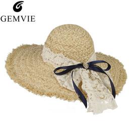 $enCountryForm.capitalKeyWord Australia - GEMVIE Elegant Lace Bowknot Straw Hat For Women Summer Floppy Wide Brim Raffia Woven Sun Hat Ladies Beach Panama