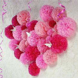 China 10PCS Handmade 4''(10CM) Tissue Paper Pom Poms Paper Flower Ball Pompom For Home Garden Wedding Birthday&Wedding Car Decoration D19011101 cheap paper pompom flower decorations suppliers