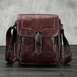 Nice Men s Vintage First Layer Cowhide Genuine Leather Cross Body Shoulder Messenger  Retro Belt Buckle Business Bag 33bd1b40972c2