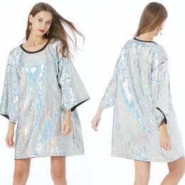 Wholesale glitter t shirt women for sale – custom Shining Glitter Sequined Short Sleeve T Shirt Women Mid length Loose Ladies Sequined Tops Club Hip Hop Street Dance Wear