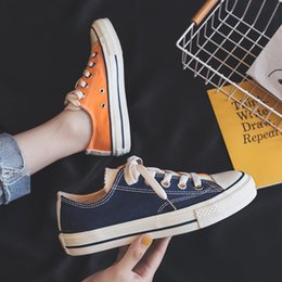 $enCountryForm.capitalKeyWord Australia - 2019 Low-cut color matching two-color canvas shoes Fashion student comfortable sneakers Spring and autumn breathable casual shoes