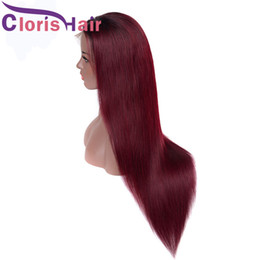 Discount burgundy brown hair color black women - Long Straight Human Hair Wigs Colored 99J Wine Red Glueless Lace Front Wig Pre Plucked Hairline Burgundy Full Lace Wig F