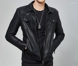 Wholesale mens spring jacket leather for sale – winter Leather Jackets Autumn Spring Hombres Jacket Coats Clothes Mens Black PU