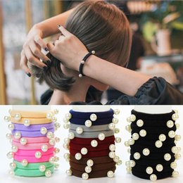 $enCountryForm.capitalKeyWord Australia - LOEEL 10 Pcs Lot Hair accessories for women and girls Pearl Rubber Bands 4 Styles Ponytail holder Elastic Hair Bands Multicolor