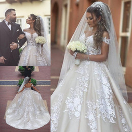 $enCountryForm.capitalKeyWord Australia - Saudi Arabic 2019 Lace Appliques Ball Gown Wedding Dresses Off The Shoulder A Line African Bridal Gowns Corset Back Plus Size Wedding Dress