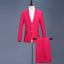 $enCountryForm.capitalKeyWord Australia - Rose Red Stage Costume Men's Two-piece Fitted Men's Suit Zipper Men's Suits with Pants Casual Blazer Stage Suit Jackets