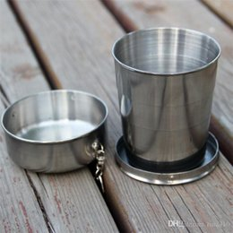 stainless steel telescopic cup Canada - New All stainless steel telescopic cups whole stainless steel folding cup drinking cup wine cup Hip Flasks 140ML 3034