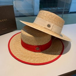 Flat brimmed hats For girls online shopping - Luxury Designer Hot Sale Wide Brim Sun Hats For Women Letter Embroidery Straw Girls Ladies