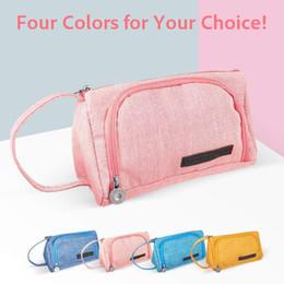 Linen Cosmetic Bags Cases Australia - Multifunctional Cosmetic Makeup Bag Cotton-linen Zipper Pencil Pen Case Storage Pouch