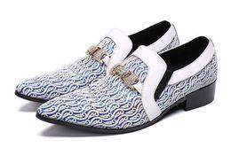 Shoes Metal Print Australia - 2019 Newest dress Shoes Men Classic Chinese Pattern Print Leather Men Dress Shoes Metal Chain Crystal Men Flats