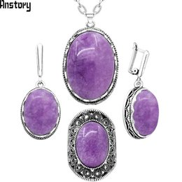 $enCountryForm.capitalKeyWord Australia - ashion Sets Oval Natural Violet Amethysts Jewelry Sets Necklace Earring Ring For Women Flower Pendant Antique Silver Plated Fashion Jew...