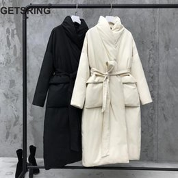 Womens Parkas Australia - GETSRING Womens Down Jackets Stand Collar Long Sleeve Down Coats Women Parkas Lace Up Loose Long Coat Winter Jackets Black