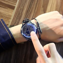 touch screen luxury watch UK - 2020 Luxury Designer Brand Mens Watches Casual LED Touch Screen Watch Unique Cool Watch with Tree Pattern PU Leather Timepieces Hour Gift