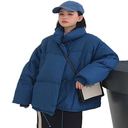 long maxi winter coat UK - Korean Style Winter Jacket Women Stand Collar Solid Black White Female Down Coat Loose Oversized Womens Short maternity jacket