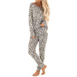 Lounge cLothes online shopping - 2Pcs pyjamas women Tracksuit Leopard Print Pants Sets Leisure Wear Lounge Wear Suit winter night suit woman clothes pijama mujer