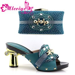 Green Women Shoes Ribbon Lace Australia - Latest Design Italian Shoes with Matching Bags Set Decorated with Rhinestone African Shoes for Women High Heels Party Pumps