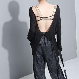 Open Back Tee Australia - 2019 Korean Style Women Summer Stylish Sold Black Tee Top Round Neck Open Back Spandex Girls Cool Sexy T-shirt Style Femme F1047