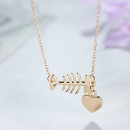 $enCountryForm.capitalKeyWord Australia - New Arrival Fish Bone&Heart Necklaces&Pendants Jewelry Women Cute High Quality Long Necklace Chain Birthday Gifts