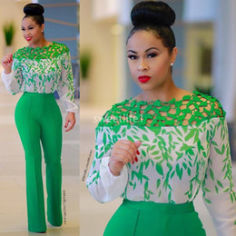 green fall dresses NZ - 2020 Nigern Aso Ebi Style Green Evening Dresses Jumpsuits Long Sleeve Sheer Jewel Neck Formal Occasion Prom Party Dresses Custom Made