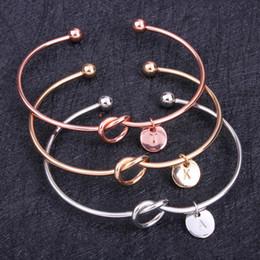 $enCountryForm.capitalKeyWord NZ - 26 Letter Rose Gold Silver Gold Color Knot Heart Bracelet Bangle Girl Fashion Jewelry Zinc Alloy Round Pendant Chain & Link Bracelets
