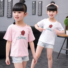 add4a7e8f 2019 Children Girls Short Sleeve Flower T-shirts Girls Cotton Tops Tees Kids  Summer Clothing Rose T-Shirt For 3 4 5 7 9 Y