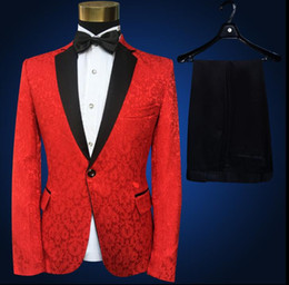 wedding dresses for dancing NZ - Blazer men groom suit set with pants men suits for wedding Embroidered lace singer star style dance stage clothing formal dress