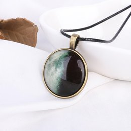 Stylish Pendants For Women NZ - New Luminous Moon Surface Necklace Stylish Personality Glass Ball Starry Eclipse Pendant Men's Neutral Locket For Women Druzy Jewelry