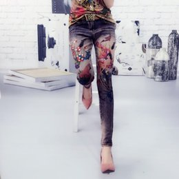silk painting patterns NZ - plus size 26-333D Woman Flower Jean Stretch Pattern Painted Jeans Female Women's Stretch Skinny Jeans Girls Vintage Fabric Pants
