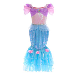 $enCountryForm.capitalKeyWord Australia - Girls Mermaid Cosplay Lace princess Gown Infants Princess Cosplay fish scale flower dresses birthday party halloween performance costume B11