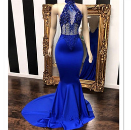 China Blue Mermaid Prom Dresses 2019 Beaded Halter Neckline Open Back Formal Evening Gowns Sheer Crystal Rhinestone Cocktail Party Ball Dress cheap sweetheart neckline rhinestone prom dress suppliers