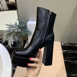 $enCountryForm.capitalKeyWord Australia - Brand Women Cow leather Platform High Boots fashion 13cm Chunky Heel Elastic leather Thigh-High Boots Winter Half Short Dress Boots,35-41