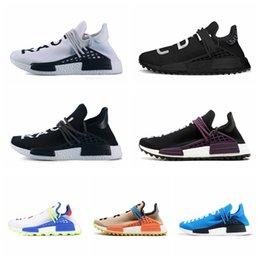 9e6b3fc2a3b18 PW Human Race Hu Trail X Men Running Shoes Pharrell Williams Nerd Black  White Cream Tie Dye Sun Glow Womens Trainers Sports Sneakers