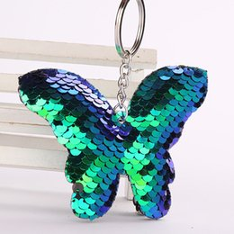 pink glitter butterflies 2019 - Hanging Decoration Keychain Fashion Sequin Butterfly Backpack Glitter Accessories Crafted discount pink glitter butterfl