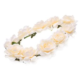 White hair Wreath online shopping - Women shower flower Bohemia style headdress hair band flower wreath wreath flowers headbands headband for weddi