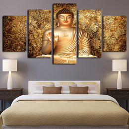 buddhism posters NZ - 5 Panels Pictures Paintings on Canvas Wall Art Golden Buddha Zen Buddhism Art Giclee Canvas Prints and Posters Artwork