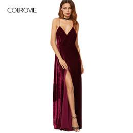 01e6a704a09 Colrovie Burgundy Velvet Maxi Backless Dress Womens Autumn Party Dresses  Deep V Neck Long Elegant Dress New Strappy Wrap Dress J190505
