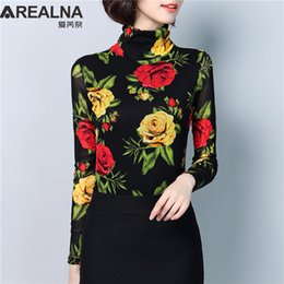 Mesh Fiber Australia - Fashion 2019 Women Blouses High Elasticity Black Mesh Flowers Long Sleeve Slim Shirts Floral Print Ladies Kimono Tunic Work