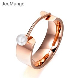 $enCountryForm.capitalKeyWord NZ - JeeMango New Design White Simulated Pearl Ring Jewelry Rose Gold Color Titanium Steel Engagement Wedding Rings For Women R17142