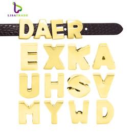$enCountryForm.capitalKeyWord Australia - 130PCS! 8MM Gold Plain Slide Letter charms (A-Z each letter 5pcs) Fit DIY Wristband & Bracelet LSSL37*130