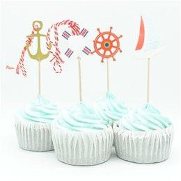 $enCountryForm.capitalKeyWord Australia - 24pcs lot Sailing Anchor Tour Party Cupcake Toppers Birthday Cakes Topper Picks For Boy Birthday Party Decoration Supplies