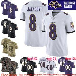 0efcb41f1 100th anniversary Men youth women Vapor Untouchable Ravens 8 Lamar Jackson  9 Justin Tucker Custom Camo Salute to Service football jersey 01