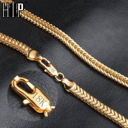 6mm Cuban Chain Australia - HIP Hop 20 Inches 6MM Snake Bone Chain Gold Filled Stainless Steel Double Curb Cuban Link Chain Necklaces for Men Jewelry