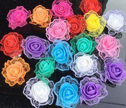 Foam Rose Heads White Australia - PE Flower Head with Lace Artificial Flower PE Foam Lace Rose For Wedding Decoration DIY Scrapbooking Handmade Craft Accessories Wreath Flowe