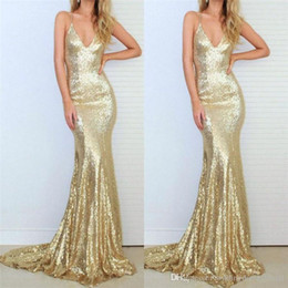 $enCountryForm.capitalKeyWord Australia - Bling Gold Sequined Mermaid Evening Dresses Formal Wear 2019 Sexy V Neck Spaghetti Straps Backless Prom Gowns Sweep Train Vestidos De Fiesta