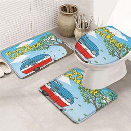 3 Pieces Bathroom Set Vintage Caravan Durable Bath Set Toilet Cover Mat Pedestal Rug Non-Slip Bathroom Rug Set on Sale