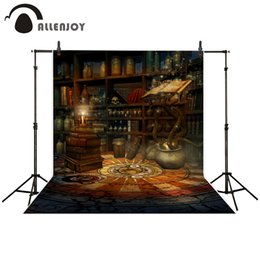 vintage studio background Australia - hoto Studio Backgrounds Allenjoy photography backdrop Mysterious Magic Book Shelf Candle Vintage Style background for photo studio camera...