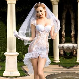 Hot Sexy White Dresses Australia - Women Sexy Lace Babydoll Lingerie Sexy Hot Erotic Wedding Lingerie White Lace Wedding Dress Cosplay Costume Sexy Porno Underwear