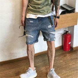 Wholesale patch denim shorts resale online – designer Hole Man Denim Shorts Patch Fashion Summer Thin Casual Loose Elastic Wash Ripped Jeans Male Clothes Men Hole Denim Clothing