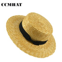 CCMHAT Women Wide Brim Straw Hat Fashion Chapeau Paille Summer Lady Sun Hats  Boater Wheat Panama Beach Hats Chapeu Feminino Caps D19011103 a3c8843fbfd1